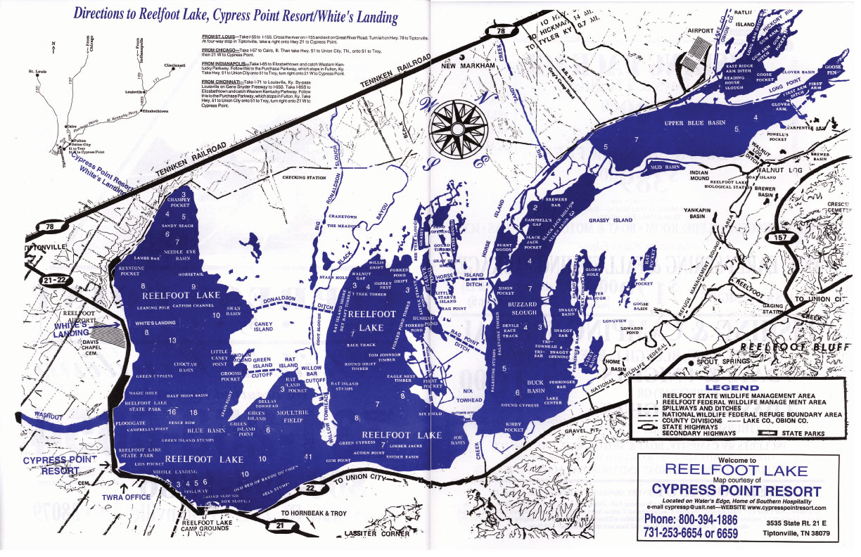 Reelfoot Lake Area Map For Northwest Tennessee - Tn lakes map